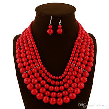 red necklace women images 2018 african coral beads jewelry set red jewellery sets for women jpg