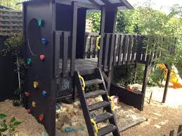 Outside Play In This Fun Fort With Bridge  Rockwall Play - Backyard fort designs