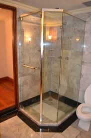 bathroom contemporary bathroom design with glass corner shower exciting corner shower kit with handle and marble wall plus kohler toilet for small bathroom design