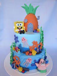 spongebob cake with patrick star and gary the snail decorated
