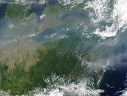 nasa visible earth pollution over the great lakes and united
