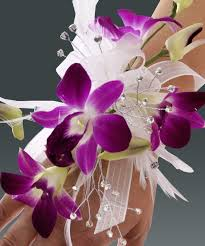 purple orchids purple orchid wristlet with white feathers prom corsage