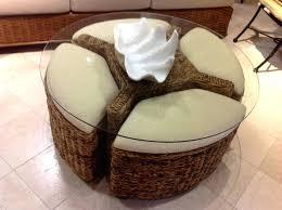 woven storage bin rattan ottoman coffee table coffetable crafting