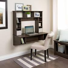 Wall Mount Laptop Desk by Brown Stained Walnut Wood Wall Laptop Desk Combined White Fabric