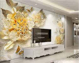 gold wall murals promotion shop for promotional gold wall murals beibehang photo wall mural 3d wall paper gold high grade diamond flower jewelry background wall wallpaper home decor papel mural