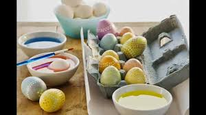 easter egg decorating coloring with dye rice