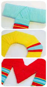 yarn wrapped diy wall letters kids craft room