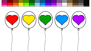 learn colors for kids and color heart balloons coloring pages 2