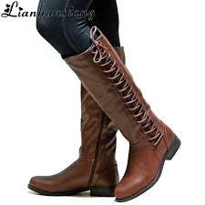 ladies motorbike boots lianhuaxiang autumn winter knee high long boots women shoes fashion