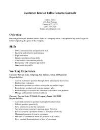 Objective Resume Examples Customer Service by Customer Service Objectives For Resumes Template Examples