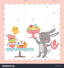 easter tea party easter tea party background easter stock vector 372964378