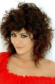 medium length curly hairstyles with bangs women medium haircut