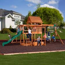 Swing Set For Backyard by Backyard Discovery Monticello Cedar Swing Set Walmart Com