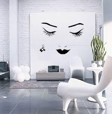 Minimalist Design by Woman Face Mural Interior Design Wall Art In Minimalist Design