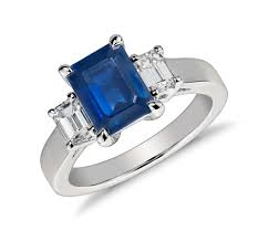 emerald cut sapphire and ring in platinum 8x6mm blue nile - Sapphire Emerald Cut Engagement Rings