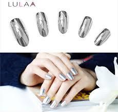 lulaa 2pcs 6ml silver mirror effect metal nail polish varnish top