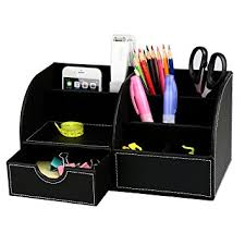 Office Desk Tidy Levin 7 Storage Compartment Multifunctional Pu Leather Mesh Desk