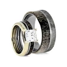 Deer Antler Wedding Rings by Deer Antler Wedding Ring Set With Moissanite Engagement Ring And