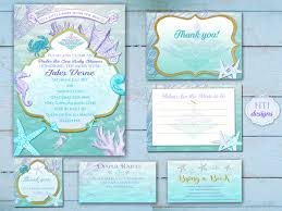 baby shower invitation kit suite beach mermaid under the sea