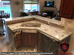 Refinish Kitchen Countertop Kit - kitchen diy metallic epoxy countertop kit installed in a kitchen