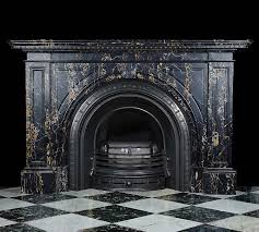 antique black with gold marble fireplace mantel victorian