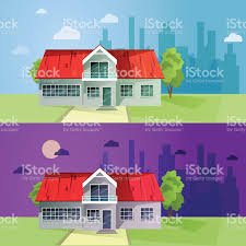 set of colorful cottage houses flat buildings vector illustrat