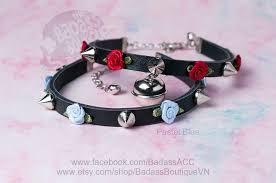 rose choker necklace images Ribbon rose spike kitty bell black vegan leather collar choker jpg