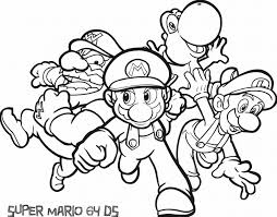super mario for kids coloring page free download