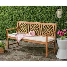 safavieh bradbury outdoor 3 seat acacia patio bench with beige