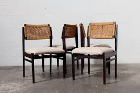 Woven Dining Chair Set Of 4 Woven Rope Back And Teak Dining Chairs Amsterdam Modern