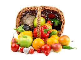 fruit and vegetable basket fruits and vegetables in a basket stock image image of lemon