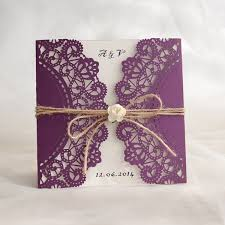 fancy indian wedding invitations rustic purple laser cut invitation with twine and flower ewws057
