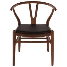 hans wegner style wishbone chair walnut stain with leather