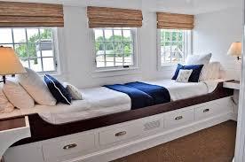 cottage guest bedroom with carpet u0026 built in bookshelf in