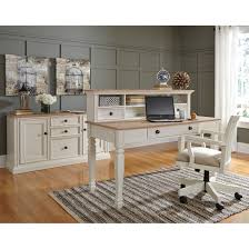 two tone home office large leg desk with drawer by signature