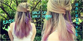 quick and easy half up half down hairstyle for medium to long hair