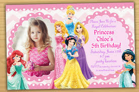 Invitation Card 7th Birthday Boy Disney Princess Birthday Invitation Disney Princess
