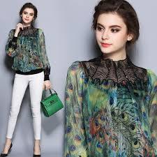 aoxuer autumn women blouses vintage printed long sleeve peacock