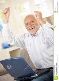 Old Guy Meme - old man celebrating with laptop stock photo image of good