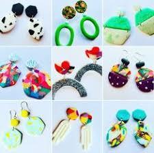 80s earrings unique colourful geometric earrings handmade turquoise pink