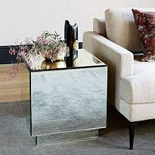 mirror tables for living room geo mirror storage side table west elm