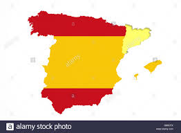 Flag Of Catalonia 3d Rendering Of Map Of Catalonia With Spain Map And Flag Stock