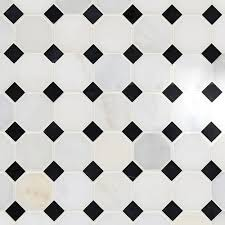carrara white and black octagon marble mosaic 2in x 2in