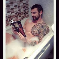 Boys With Tattoos Meme - photogenic guy with a beard and tattoos reading a book while in a