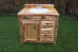 in vogue reclaimed log wood single sink rustic vanity with chrome