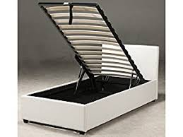 3ft single white faux leather ottoman storage bed exclusively by