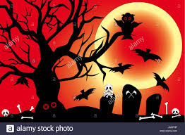 illustration for halloween night with owl bats under the blood