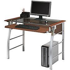 Realspace Computer Desk Realspace Mezza Desk Clear Glass Top Cherrychrome By