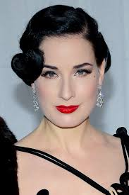 medium length haircuts for 20s dita von teese s 20s coiffed hairstyle celebrity hair and