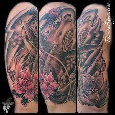 japanese koi fish and flowers tattoo by dimas reyes tattoonow